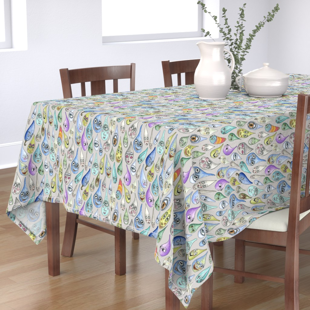 Bantam Rectangular Tablecloth featuring raindrops with personality, large scale, cool light gray grey by amy_g