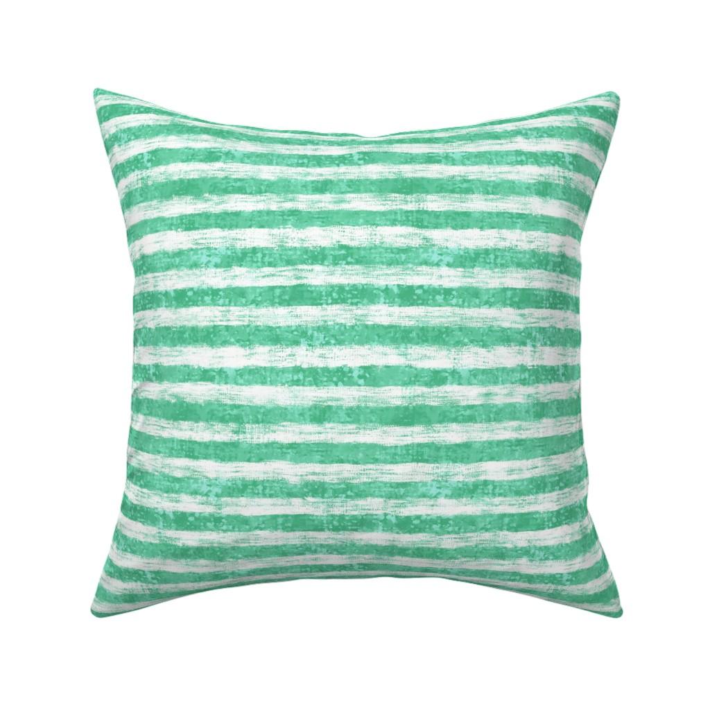 "Catalan Throw Pillow featuring Striped Nautical Aquamarine Burlap 12"" by helenpdesigns"