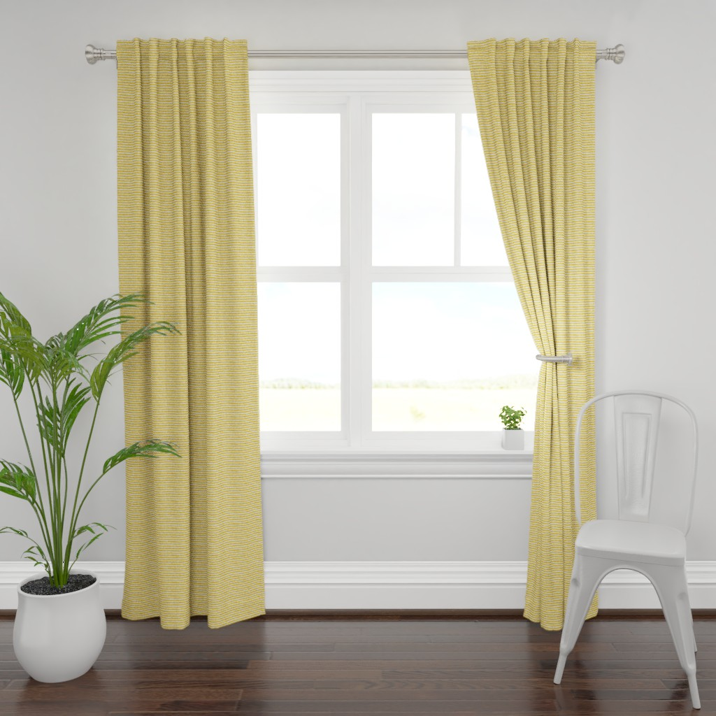 """Plymouth Curtain Panel featuring Striped Nautical Yellow Burlap 5"""" by helenpdesigns"""