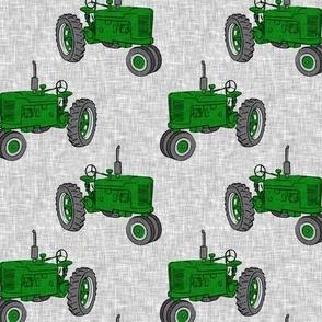 Vintage Tractors - Farming - green on grey - LAD19