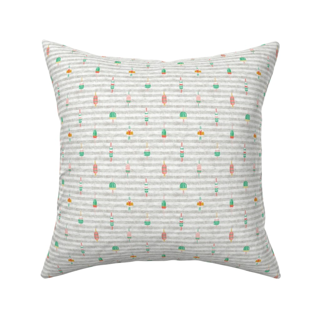"Catalan Throw Pillow featuring Tricolor Buoys on grey stripes V2 (6"") by helenpdesigns"