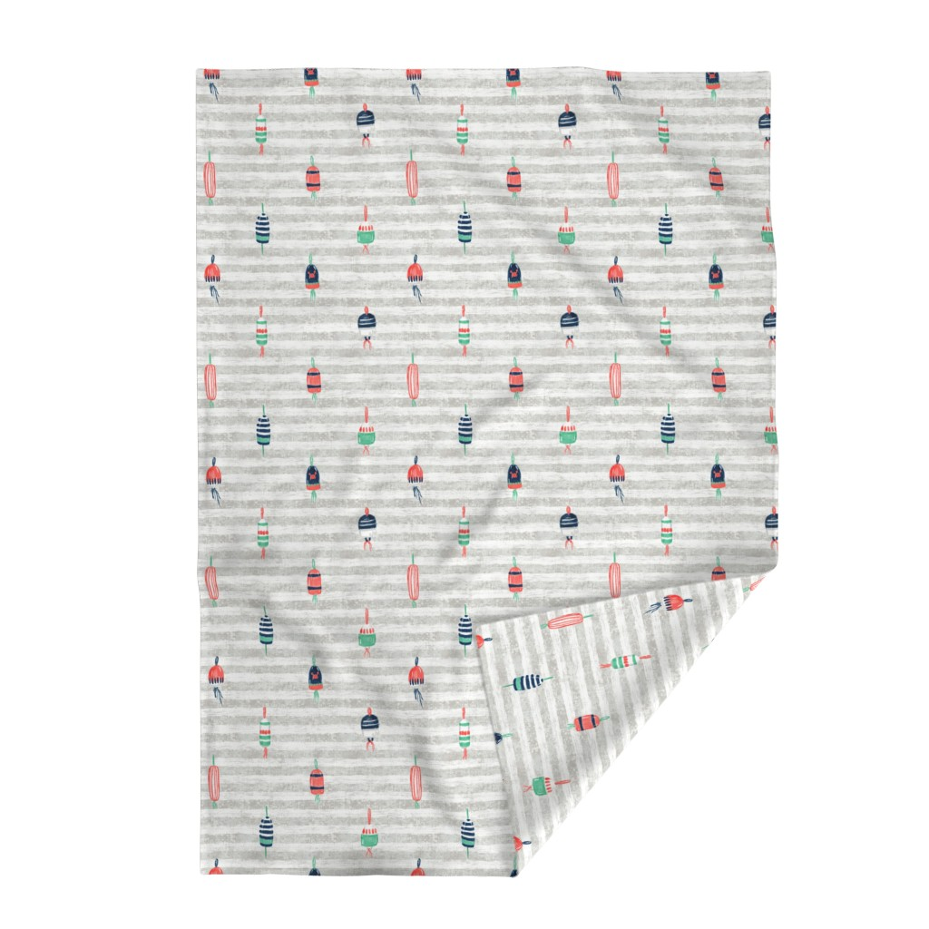 """Lakenvelder Throw Blanket featuring Tricolor Buoys on grey stripes V3 (18"""") by helenpdesigns"""
