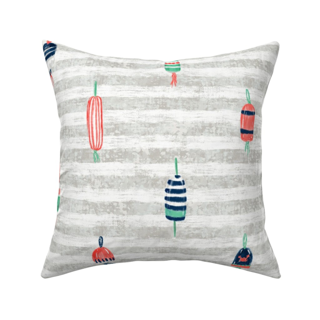 """Catalan Throw Pillow featuring Tricolor Buoys on grey stripes V3 (18"""") by helenpdesigns"""