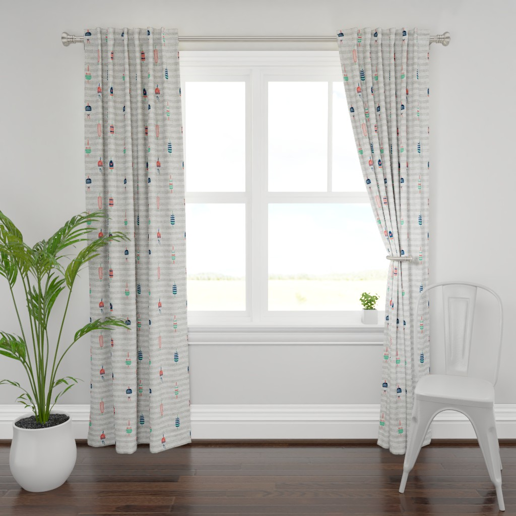 """Plymouth Curtain Panel featuring Tricolor Buoys on grey stripes V3 (18"""") by helenpdesigns"""