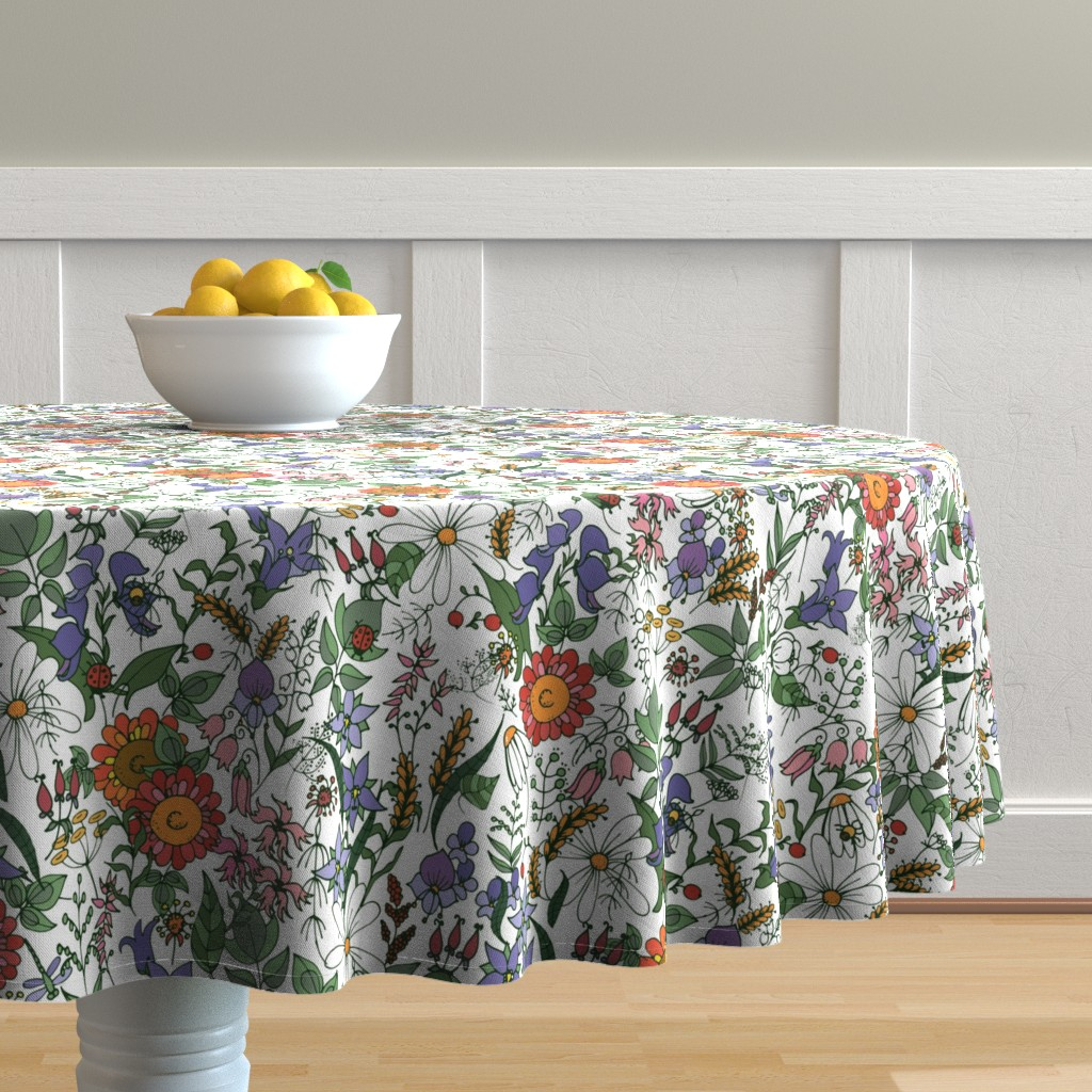Malay Round Tablecloth featuring flowers by minyanna