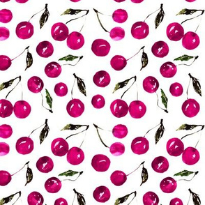 Magenta cherries || watercolor fruit patterns