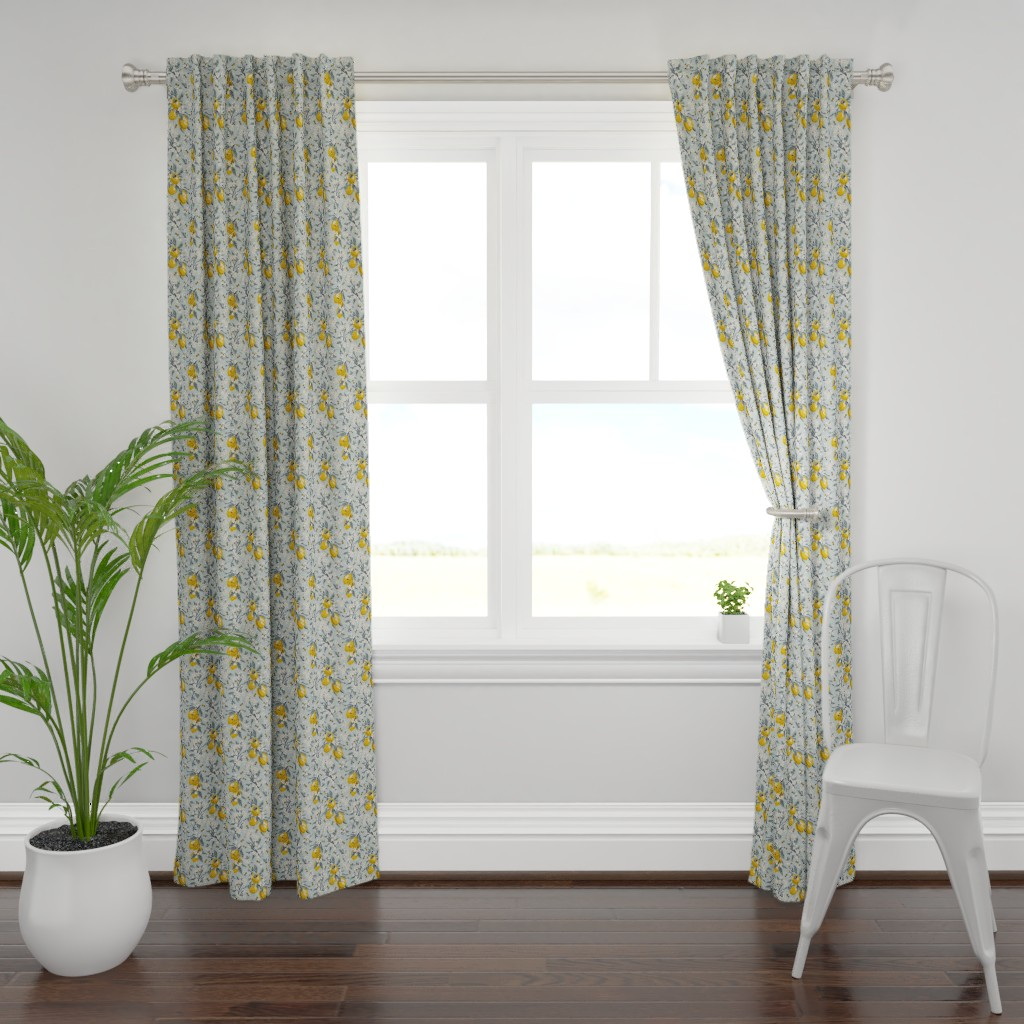 Plymouth Curtain Panel featuring Bees And Lemons - Blue - Small by fernlesliestudio