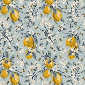 Bees & Lemons - Medium - Blue - (original colors)