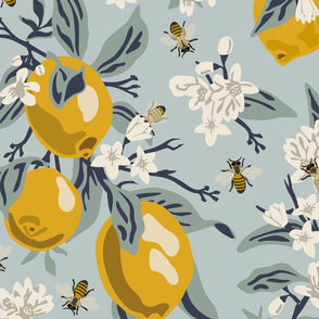 Bees  & Lemons - Jumbo - Blue (original colors)