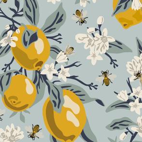 Bees  & Lemons - Jumbo - Blue