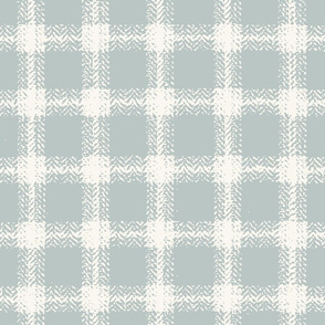Herringbone Plaid - H White, Aqua  (B &L)