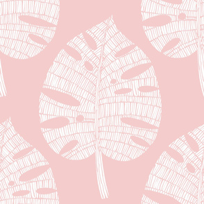 tropical leaf  (white on pink)