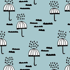 Umbrella rainy day april showers cloudy sky clouds illustration Scandinavian style illustration winter blue