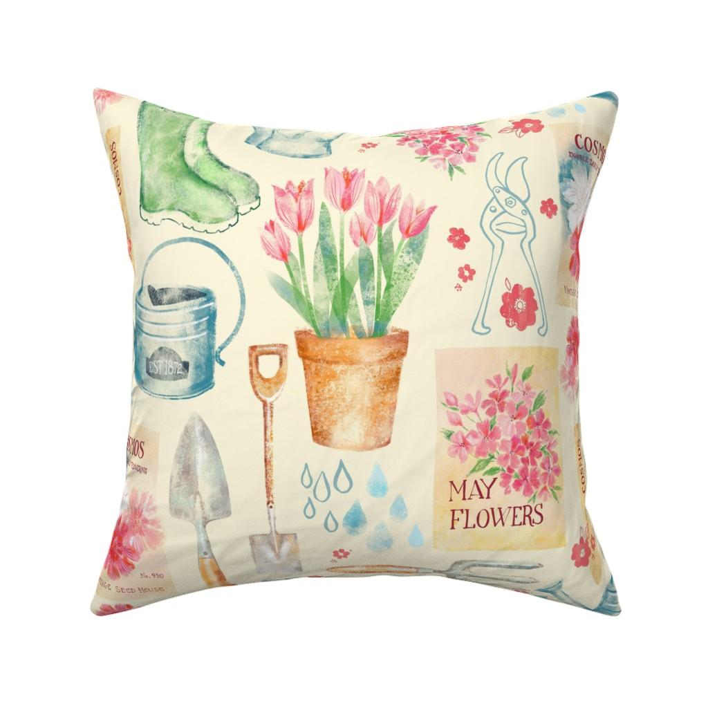 Catalan Throw Pillow featuring Vintage Floral Gardener  by ohn_mar_win