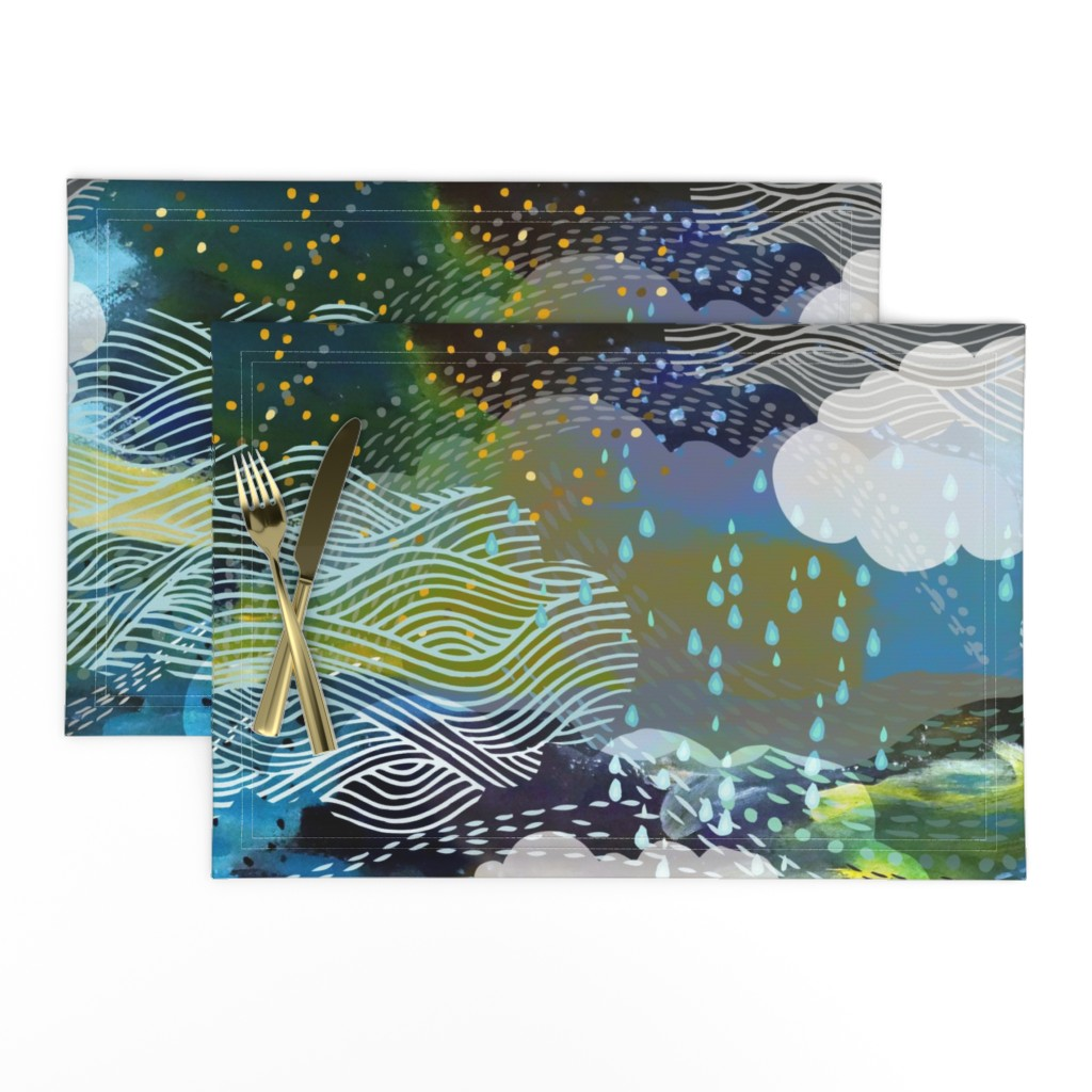 Lamona Cloth Placemats featuring The Sea and the Sky by ceciliamok