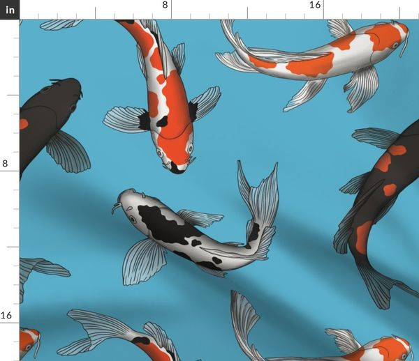 Japanese Koi Fish Art On Light Blue Back Spoonflower