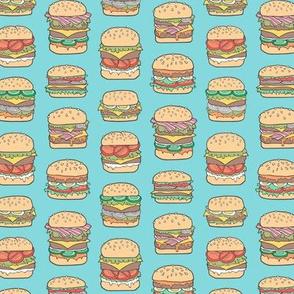 Hamburgers Junk Food Fast food on Aqua Blue Smaller 1,5 inch