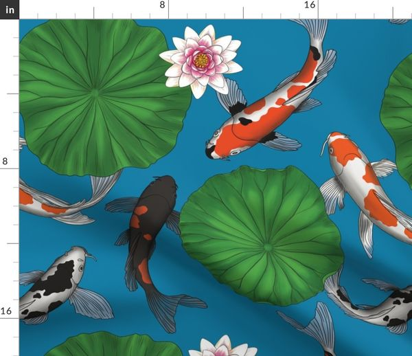 Asian Lily Pad Lotus Koi Fish Art Dark Spoonflower