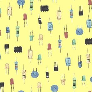 Composants électronique (fond jaune) - Electronic components (yellow background)