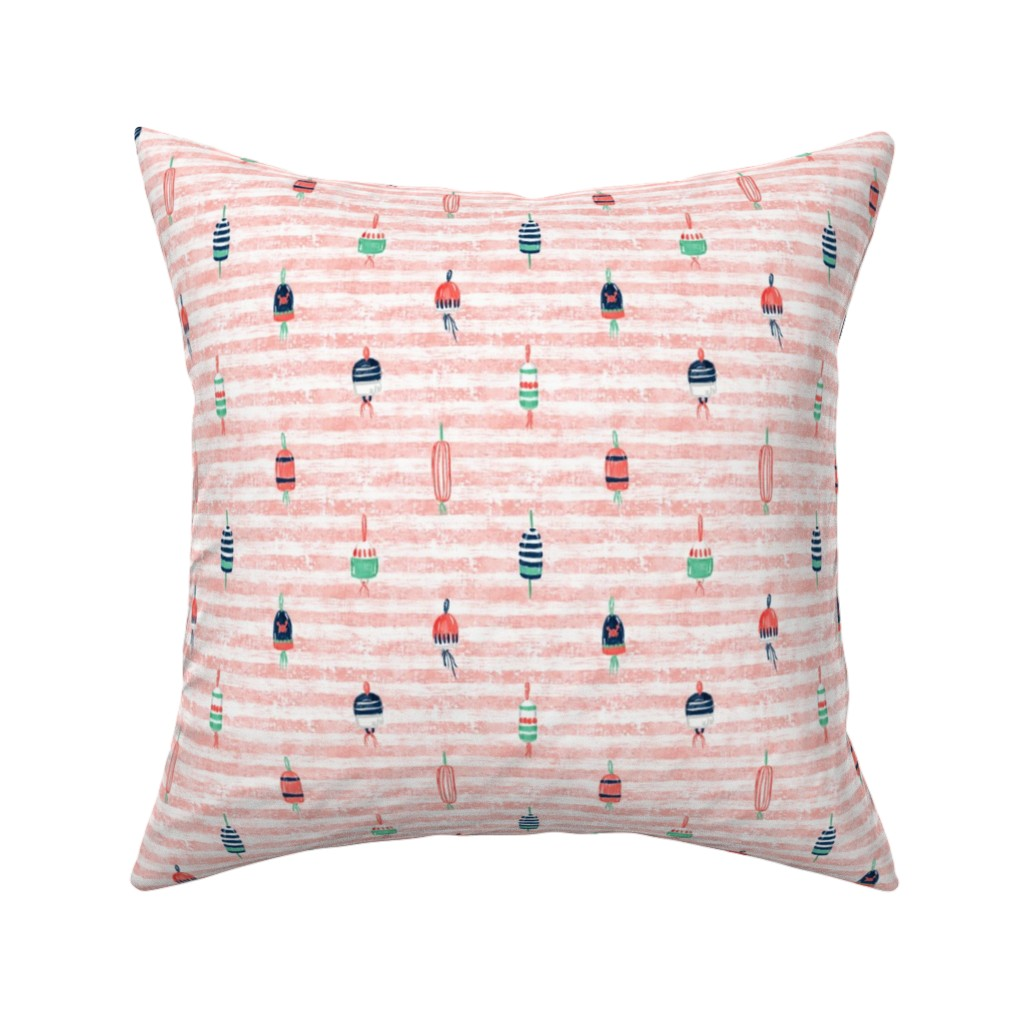 """Catalan Throw Pillow featuring Tricolor Buoys on Peach Stripes V2 6"""" by helenpdesigns"""