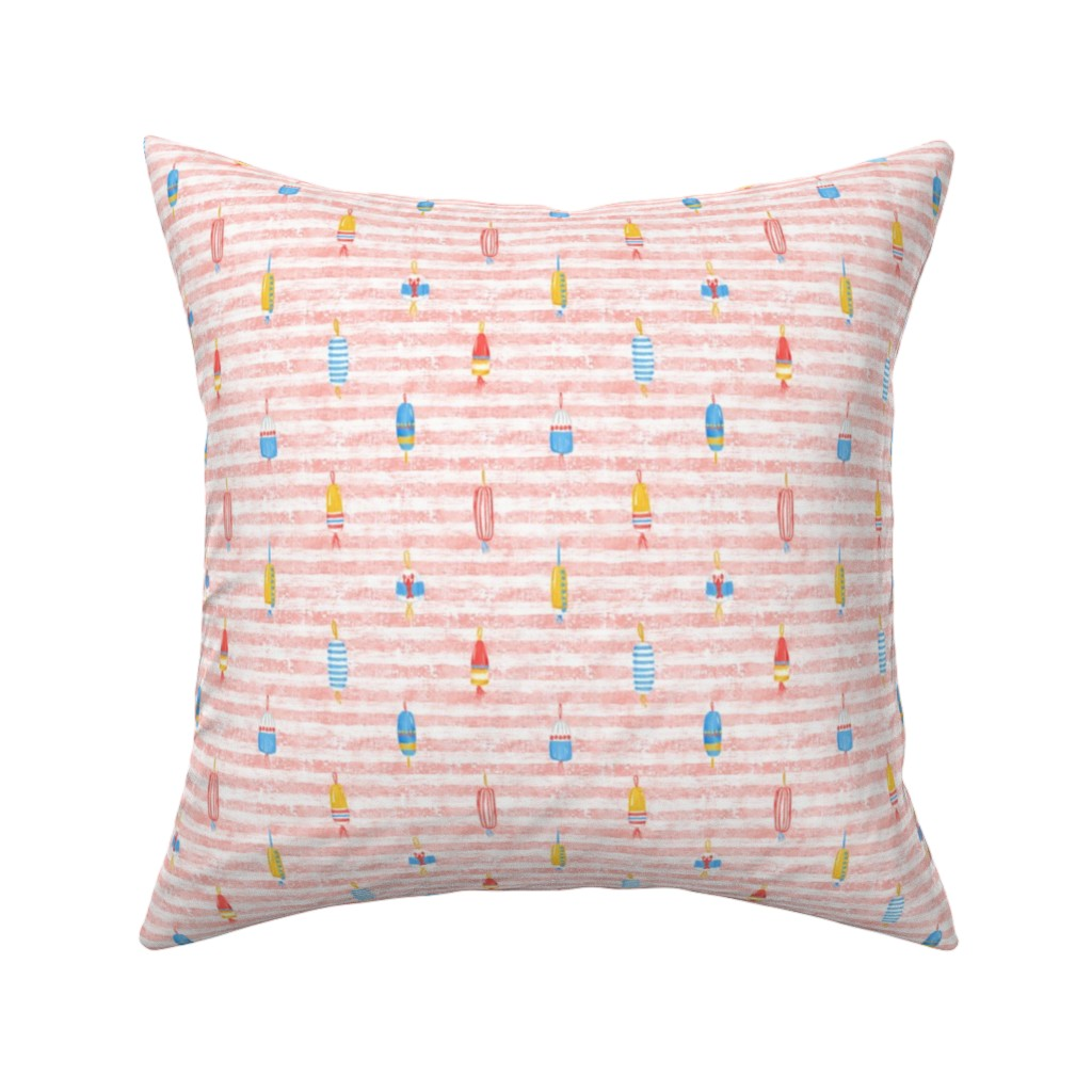 "Catalan Throw Pillow featuring Tricolor Buoys On Peach Stripes V1 5"" by helenpdesigns"