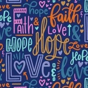 Faith, hope and love - navy blue