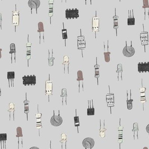 Composants électronique (chroma fond gris) - Electronic components (chroma and grey background)