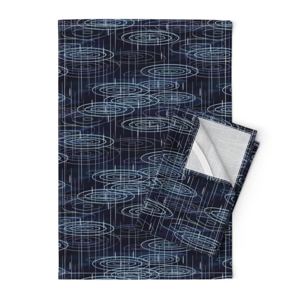Orpington Tea Towels featuring Rain - Indigo by fernlesliestudio