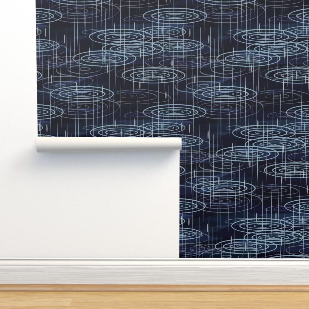 Isobar Durable Wallpaper featuring Rain - Indigo by fernlesliestudio