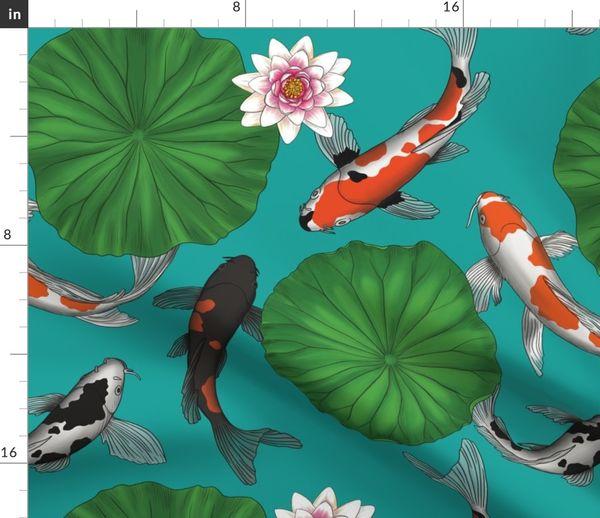 Japanese Koi Fish And Lotus Flower Garde Spoonflower