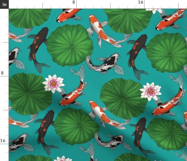 Fabric By The Yard Vintage Chinese Lotus And Koi Fish Smaller Size Version