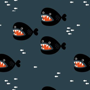 Little big fish baby shark under water world quirky cartoon abstract illustration night boys