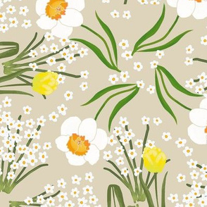 Spring Flowers Tulip Daffodil and Paperwhites on Beige