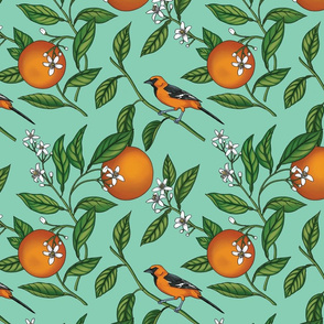 Orange Birds and Fruit Tree Botanical - Teal Green - Small Version