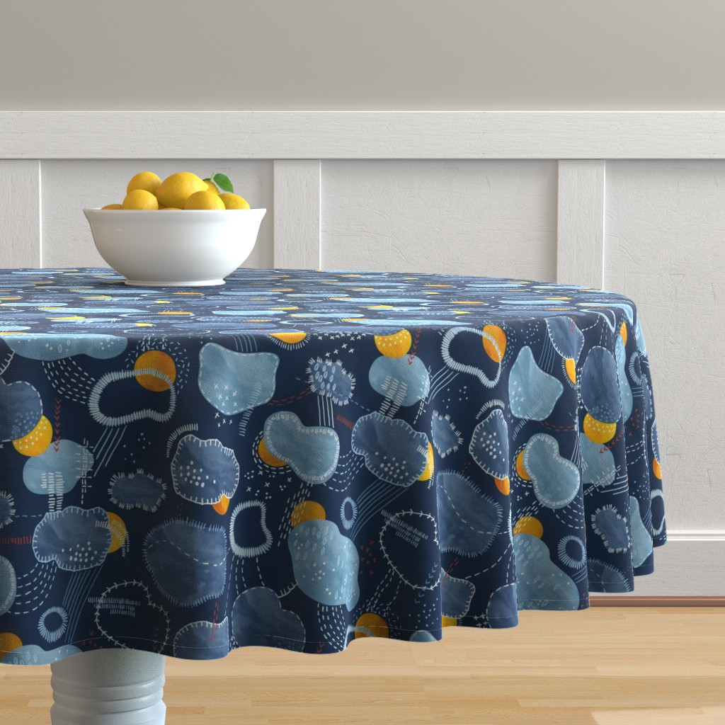 Malay Round Tablecloth featuring Sashiko Spring  Clouds by marketa_stengl