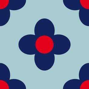 Retro Summerflower Blue Red Medium