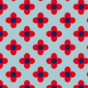 Retro Summerflower Red Blue  XSmall