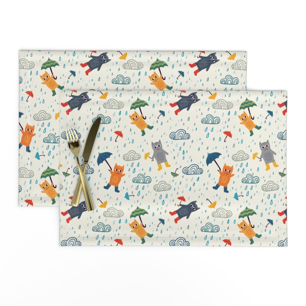 Lamona Cloth Placemats featuring It's raining cats and umbrellas  by handypanda