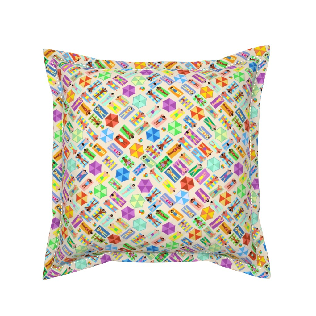 Serama Throw Pillow featuring Sun Bathers Ditsy Small by vinpauld