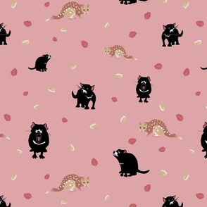 Tassie Devil and Quoll in Pink