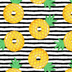 Pineapple donuts - doughnuts - summer - black stripes - LAD19