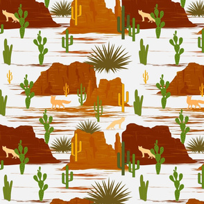 Desert Modernism-Cactus- White Mustard Rust Ochre Sienna- Regular Scale