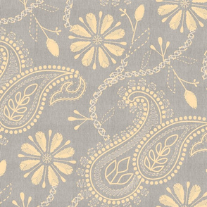 Opere Plumarii Chikankari- Paisley Florals in Flax and Gray- Large scale