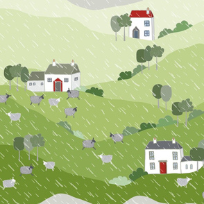 Rolling Hills in Rain