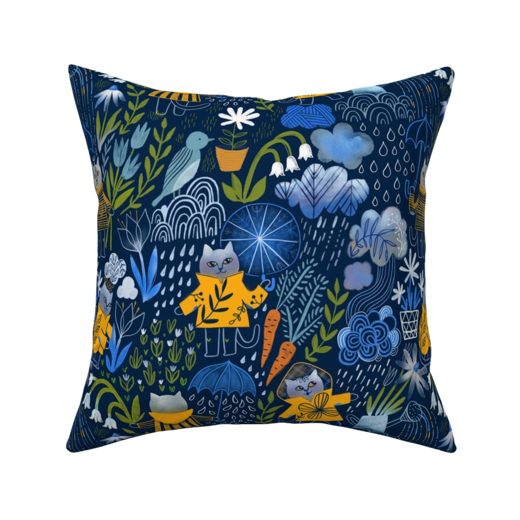 Catalan Throw Pillow featuring Who let the cats out? by kostolom3000