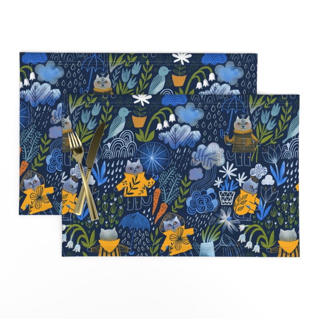 Lamona Cloth Placemats featuring Who let the cats out? by kostolom3000