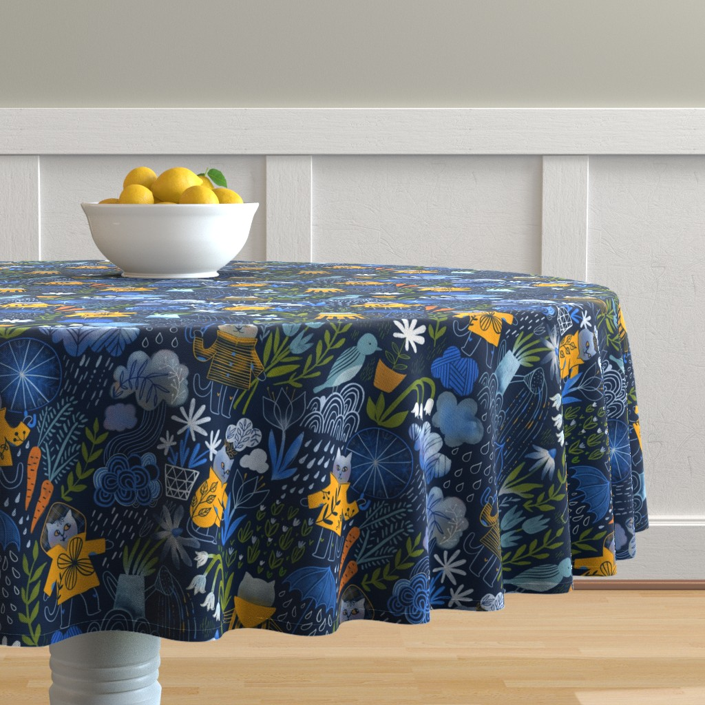 Malay Round Tablecloth featuring Who let the cats out? by kostolom3000
