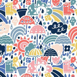 umbrellas and rain clouds