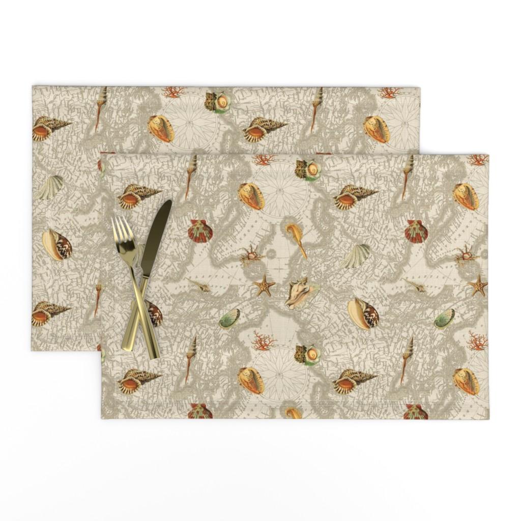 Lamona Cloth Placemats featuring Shells w map beige by mypetalpress
