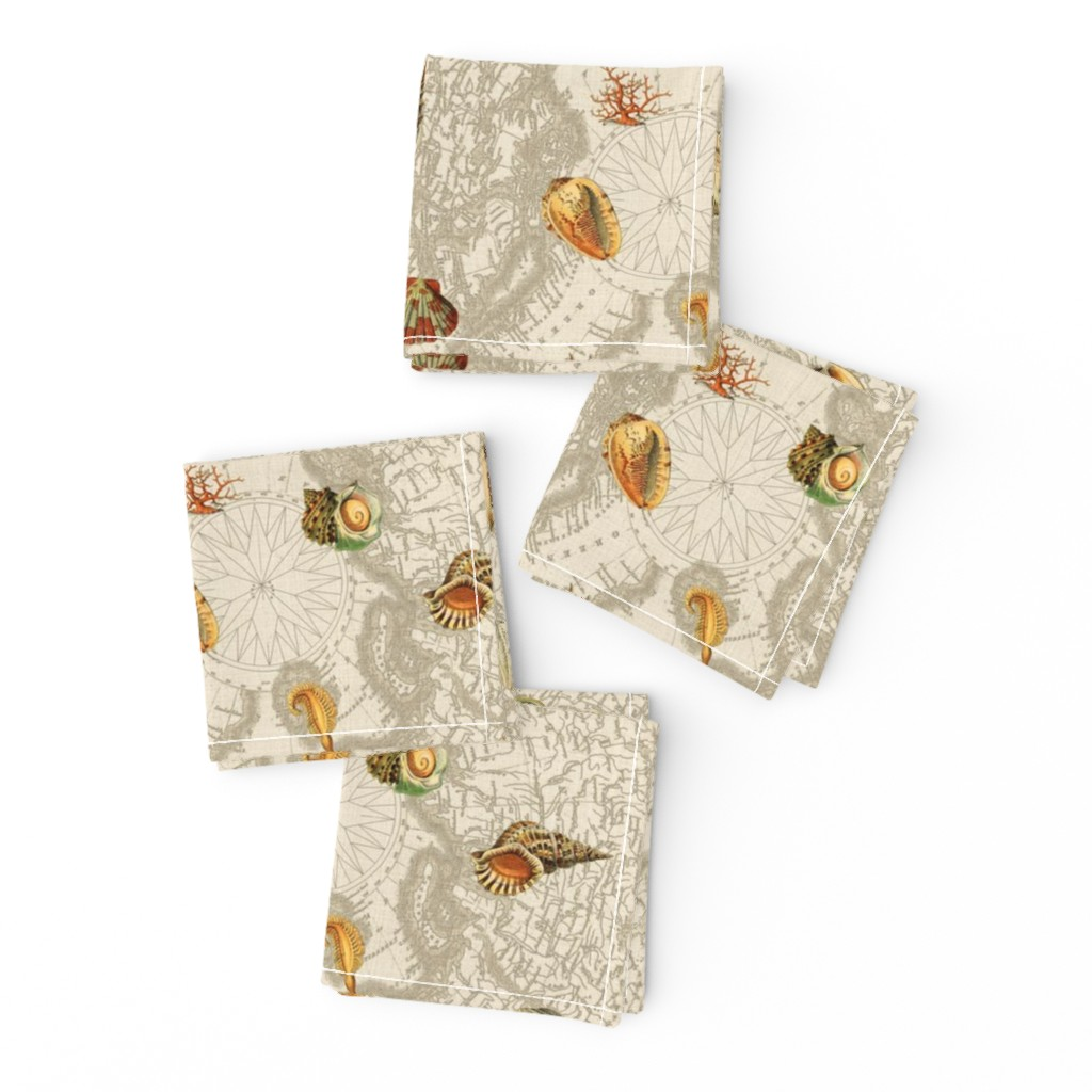 Frizzle Cocktail Napkins featuring Shells w map beige by mypetalpress